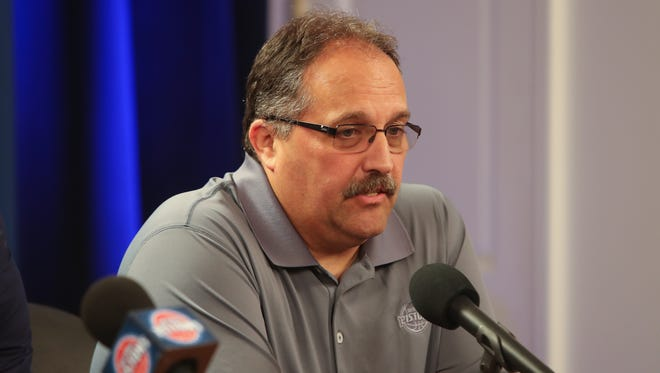 Detroit Pistons head coach Stan Van Gundy talks with reporters about signing free agents Ish Smith and Jon Leuer Friday, July 8, 2016 at The Palace of Auburn Hills.