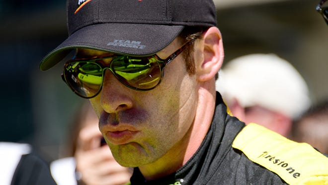 Team Penske IndyCar driver Simon Pagenaud (1) following his run for the pole position during Armed Forces Pole Day Sunday, May 21, 2017, afternoon at the Indianapolis Motor Speedway.