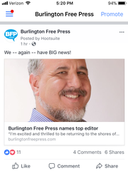 Burlington Free Press mobile Facebook page news feed