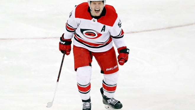 Carolina Hurricanes left wing Jeff Skinner (53) reacts after scoring an unassisted goal during the third period of an NHL hockey game against the New York Rangers in New York, Monday, March 12, 2018. The Buffalo Sabres obtained the eight-year veteran in a trade Thursday.