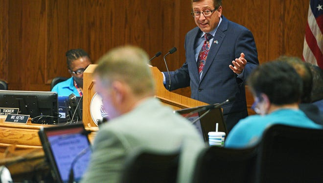 Sioux Falls Mayor Mike Huether delivers his 2017 Budget Address Tuesday, July 26, 2016, at Carnegie Town Hall in downtown Sioux Falls.