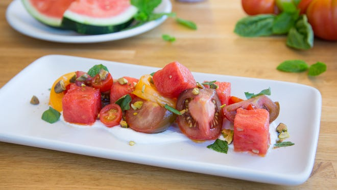 Heirloom tomato and watermelon at True Food Kitchen.