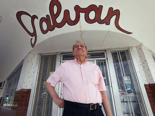 TODD YATES/CALLER-TIMES Bobby Galvan, owner and operator of Galvan Music Co. at the corner of Crosstown and Agnes, stands in front the building his father built and where he ran the Galvan Ballroom.