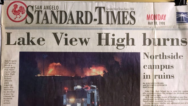 """The front page of the San Angelo Standard-Times, Monday, May 18, 1998, """"Lake View High burns."""""""