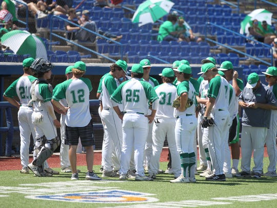 The Wall High School baseball team talks things over