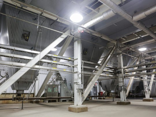 """A look inside the """"bag house"""" at the Mill Creek Generating Station on the Dixie Highway. The $940 million dollar environental projects included four pulse-jet fabric-filter baghouse units, which act as filters for pollutants in emissions, along with new scrubbers are expected to reduce emissions by 82 percent, and sulphur dioxide emissions by 86 percent. Aug. 18, 2016"""
