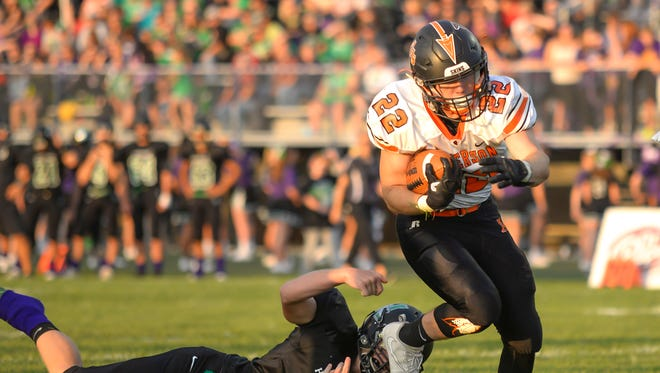 Anderson running back Kyle Blaha crosses the goaline for a Redskins touchdown.