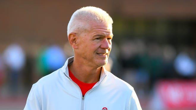 Ohio State Buckeye coach  Kerry Coombs takes in Fairfield against Mason, Friday, Oct. 20, 2017