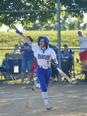 Emma Kahler and the rest of the Collins-Maxwell seniors want to bow out with one more state championship as they get ready for the state softball tournament next week in Fort Dodge. The top-ranked Spartans are going for their third-straight title in Class 1A. They face Mason City Newman Catholic in the quarterfinals on Tuesday at 3 p.m. File photo by Joe Randleman/Ames Tribune.