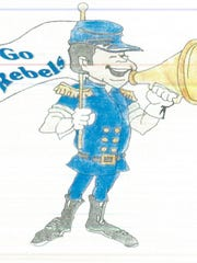 A sampling of images of Hamlin's Rebel mascot was provided