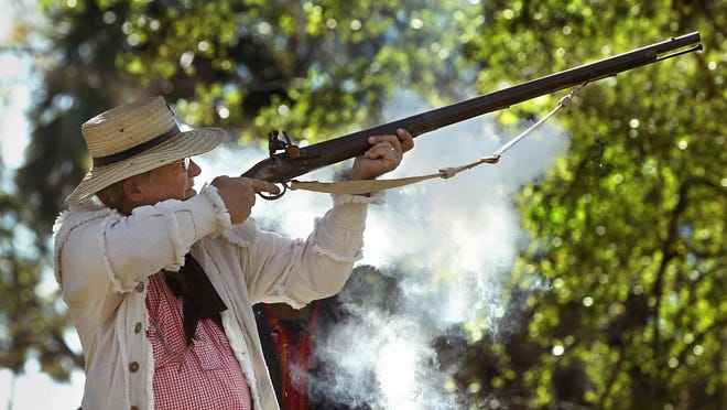 In this file photo, Bob Enik, of Boca Raton, fires a 1779 Brown Bess musket to commemorate the Battle of Loxahatchee.