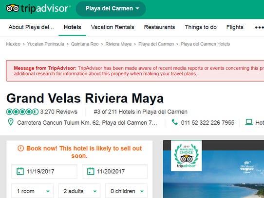 Screen view of the TripAdvisor alert.