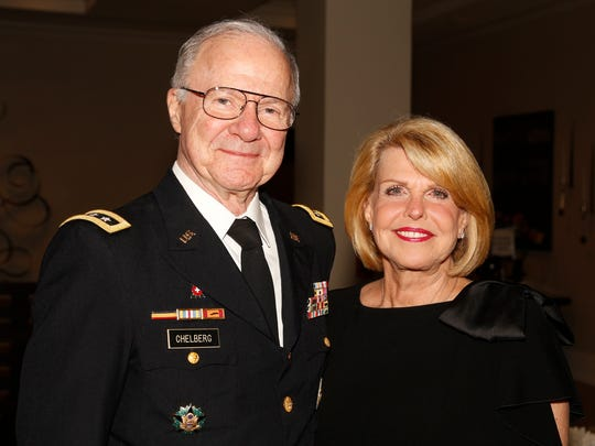 General Robert and Virginia Chelberg share smiles at the 6th Annual Military Ball for the Wounded Veteran's Relief Fund.