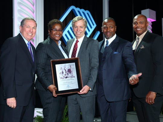 Left to Right: Jim Ducatte, Director of Major Gifts, BGC of CV; Lorraine Orr, COO of the Boys & Girls Clubs of America; Doug Miller; CEO of BGC of CV Quinton Egson; and Tony Williams, Director of Operations, BGC of CV. Louise Orr presented a Lifetime Achievement in Board Leadership to Doug Miller for his decade of exemplary service at the local, state and national level as board president of the B&GC of CV.