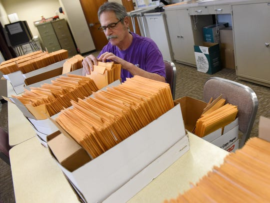 Tony Orlando processes absentee ballots in the Minnehaha County Auditor's office in the Administration Building in downtown Sioux Falls on Friday, Oct. 28, 2016.
