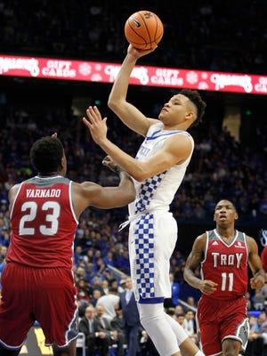 Kentucky Wildcats forward Kevin Knox (5) shoots the ball over Troy Trojans forward Jordon Varnado (23) in the first half at Rupp Arena. Mandatory Credit: Mark Zerof-USA TODAY Sports