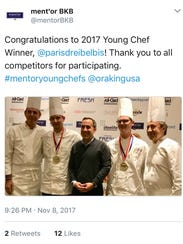 Winner Paris Dreibelbis of Milwaukee is shown in this Ment'or BKB tweet after the competition Wednesday in Las Vegas. Dreibelbis is second from left, standing beside chef Thomas Keller (far left). Dreibelbis' assistant, Zach Nelsen, is second from right, standing next to Daniel Boulud (far right). Dreibelbis and Nelson work at Ardent in Milwaukee.
