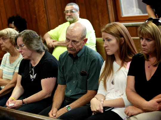 Relatives of Chelsea Bruck sit in the courtroom for the preliminary exam for Daniel Clay who is charged in the 2014 disappearance and slaying of Chelsea Bruck on Thursday, September 22, 2016, at the 1st District Court in Monroe.