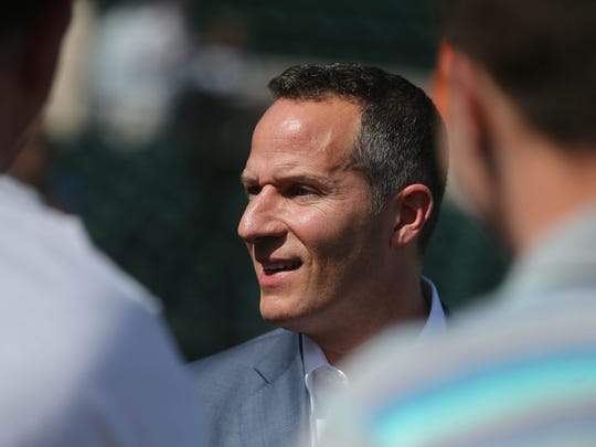 Tigers owner Chris Ilitch talks to reporters Friday,