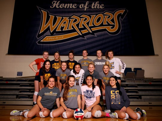 The Corban University volleyball team in Salem on Nov. 8, 2017.