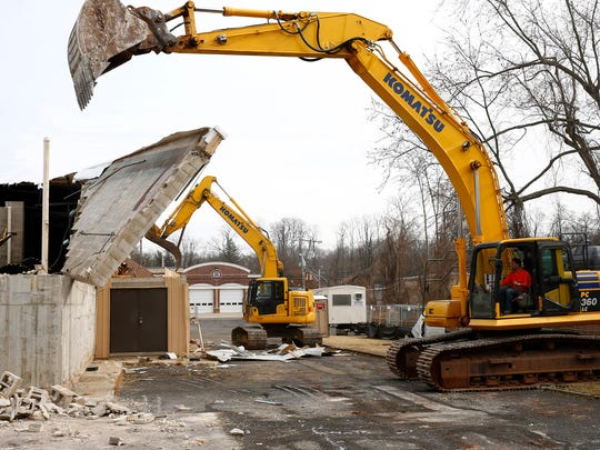 Walls are pulled down at the old Catelli Brothers slaughterhouse