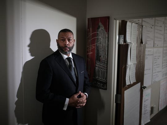 Curtis Moore, former Centria Healthcare senior sales executive, was fired from his job last year and is suing under the Michigan Whistleblower's Protection Act. His former company is suing him for defamation and has accused him of spreading lies about Centria. Moore was photographed in his office in Southfield on Thursday, Jan. 25, 2018.