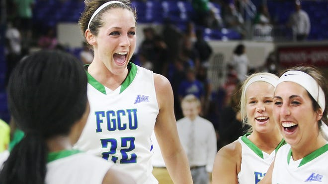 FGCU's Jenna Cobb and teammates celebrate beating Jacksonville University in the Atlantic Sun Women's Basketball Championship semifinals at Alico Arena in Fort Myers on Wednesday. FGCU also clinched a berth in the NCAA tournament.