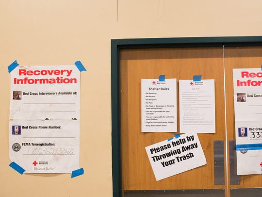 This Advertiser file photo shows informational signs at the Red Cross shelter at the Heymann Center in Lafayette.