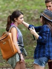 Jessica Elbaum touches up actress Sarah Hyland on the set of Modern Family.