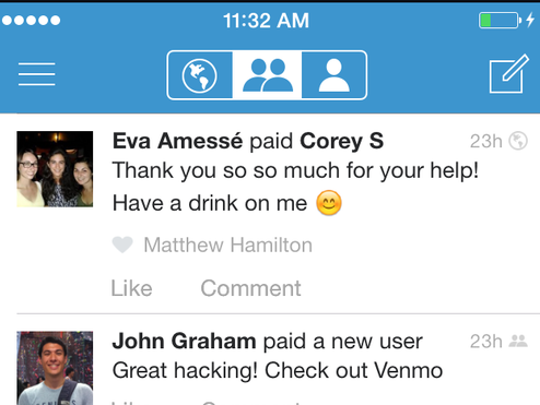 A cell phone showing the Venmo app.