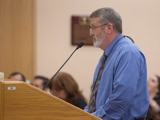 Ed Ellison, the chief financial officer for Las Cruces Public Schools, presents the LCPS budget update to the school board, Tuesday April 17, 2018.