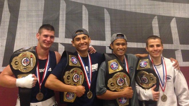 Nevada's four national champions, Garrett Felling, Johnny Aguilar, JJ Mariano and Jarred Santos.