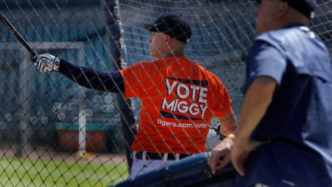 Tigers shortstop Jose Iglesias takes batting practice wearing a Vote Miggy T-shirt on Tuesday.