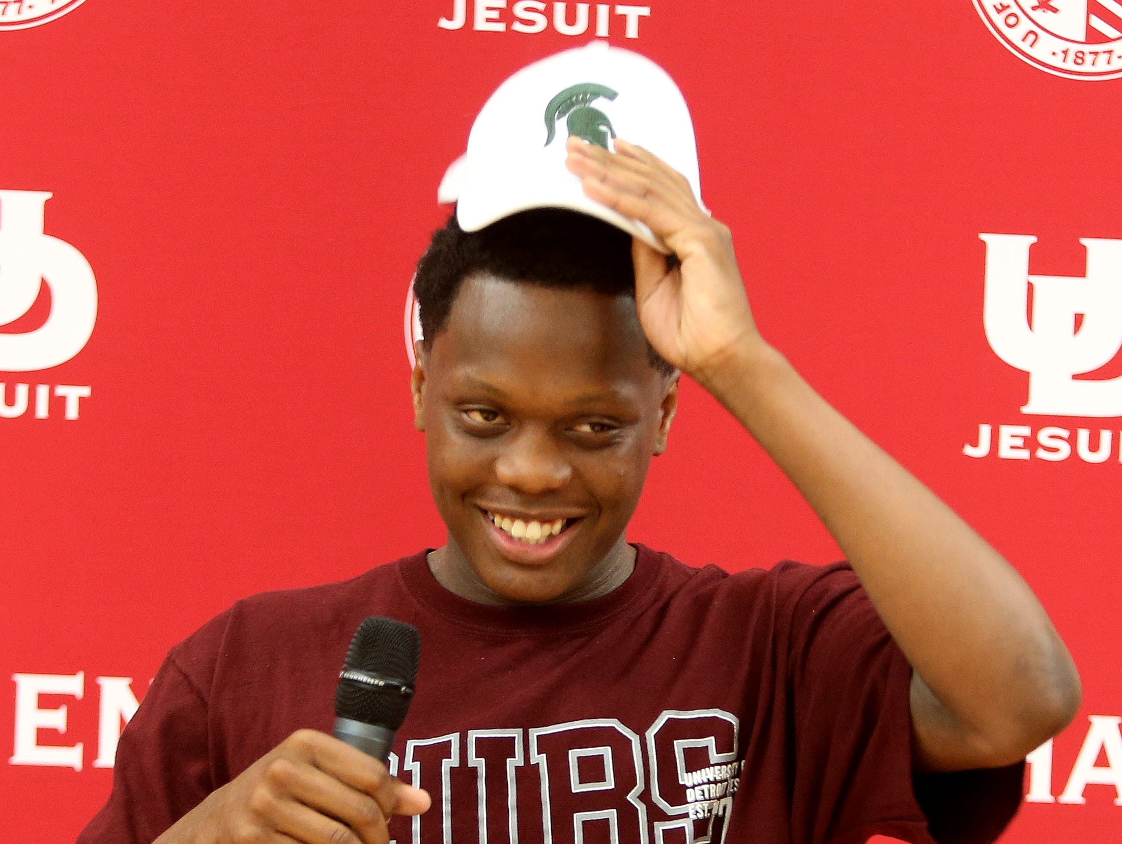 University of Detroit Jesuit senior and guard on the basketball team Cassius Winston announced he will be attending Michigan State University to play collegiate basketball on Friday, September18, 2015 at University of Detroit Jesuit high school in Detroit Michigan.