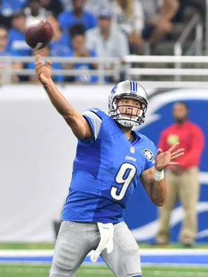 Lions QB Matthew Stafford has completed 68.9 percent of his passes through six games. He's thrown for 1,648 yards and 14 touchdowns versus four interceptions.