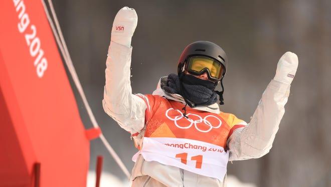 Feb 10, 2018; Pyeongchang, South Korea; Kyle Mack (USA) reacts after crashing during men's snowboarding slopestyle qualification during the Pyeongchang 2018 Olympic Winter Games at Phoenix Snow Park. Mandatory Credit: Kyle Terada-USA TODAY Sports