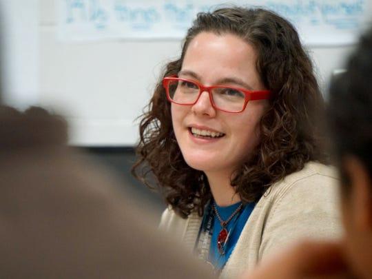 NECIC's Kayt Gerhart works with ROAR students.