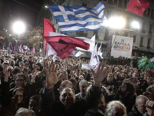 Supporters of opposition party Syriza rally in central