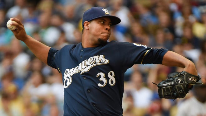 Wily Peralta became the first 14-game winner in the majors this season.