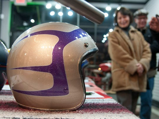 Fred Ost's helmet design stands ready for auction at last year's Motorcycle Apparel and Accessories' silent auction benefiting FACE Low-Cost Spay/Neuter Clinic.