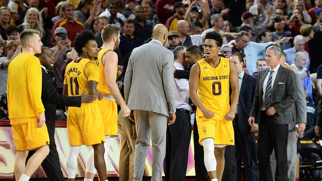 Feb 8, 2018; Tempe, AZ, USA; Arizona State Sun Devils guard Tra Holder (0) celebrates after making the game winning point against the USC Trojans in the second half at Wells-Fargo Arena. Mandatory Credit: Jennifer Stewart-USA TODAY Sports
