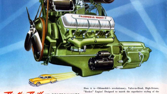 The 1949 Oldsmobile Rocket 88 is known in performance car circles as the first muscle car thanks to its 303-inch Rocket V8, the first overhead valve V8 from General Motors. Cadillac also debuted its overhead valve V8, coming in at 331-inches but in a car too heavy to match the Olds performance.