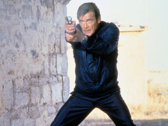 Roger Moore in an iconic James Bond pose from 'For