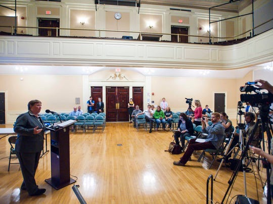 Burlington City Attorney Eileen Blackwood speaks after the city revealed the names of parties interested in purchasing Burlington Telecom at a news conference in Burlington on Wednesday, September 20, 2017.
