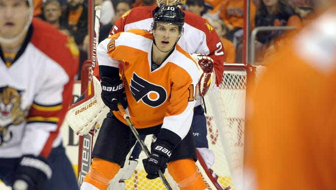 Brayden Schenn is trying to get going on a line with Sean Couturier and Matt Read.