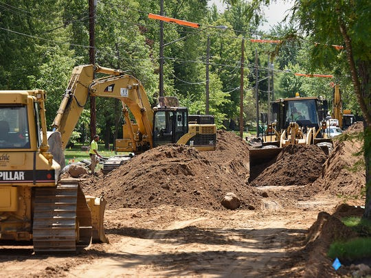 Contractors are replacing the main sewer and water lines Tuesday, June 28, down Fifth Avenue Southeast from Minnesota Highway 23 to Seventh Street Southeast in St. Cloud.