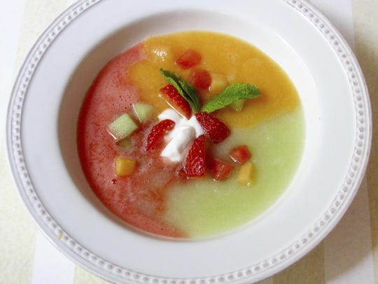 Watermelon, cantaloupe and honeydew melon unite to form a gorgeously colored soup.