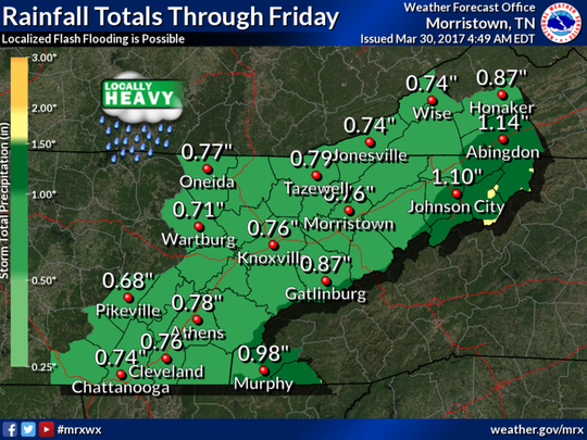 Locally heavy rainfall will be possible through Friday morning.