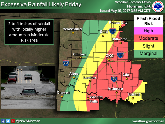The National Weather Service in Norman, Oklahoma, has Wichita Falls under a moderate risk for flash flood until 7 a.m. Saturday, May 20, 2017.