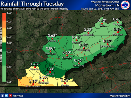 Rainfall predictions for East Tennessee through Tuesday, Sept. 12, 2017.